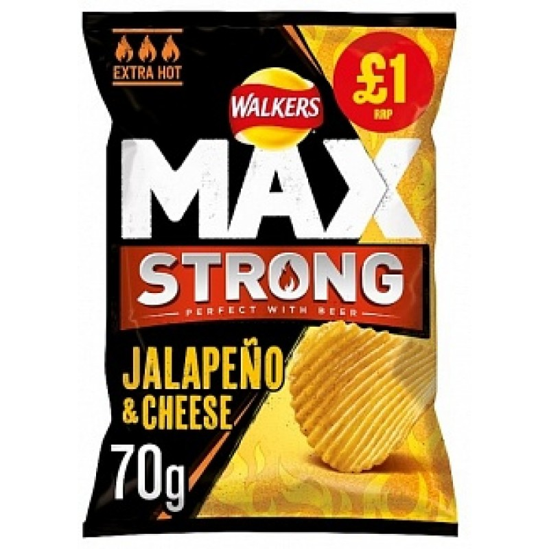 Walkers Max Strong Jalapeno & Cheese 70g